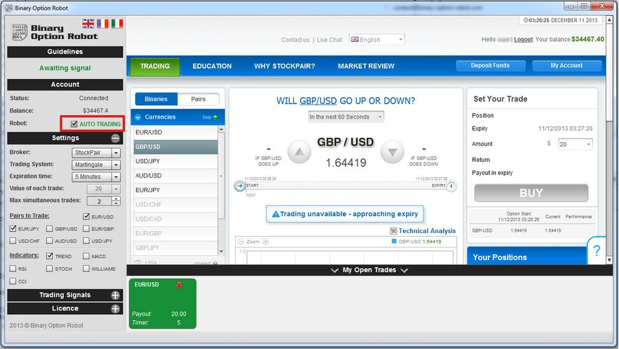Binary options robot licence key