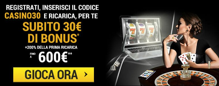 Bonus benvenuto Lottomatica casino