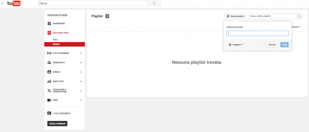 La playlist di Youtube
