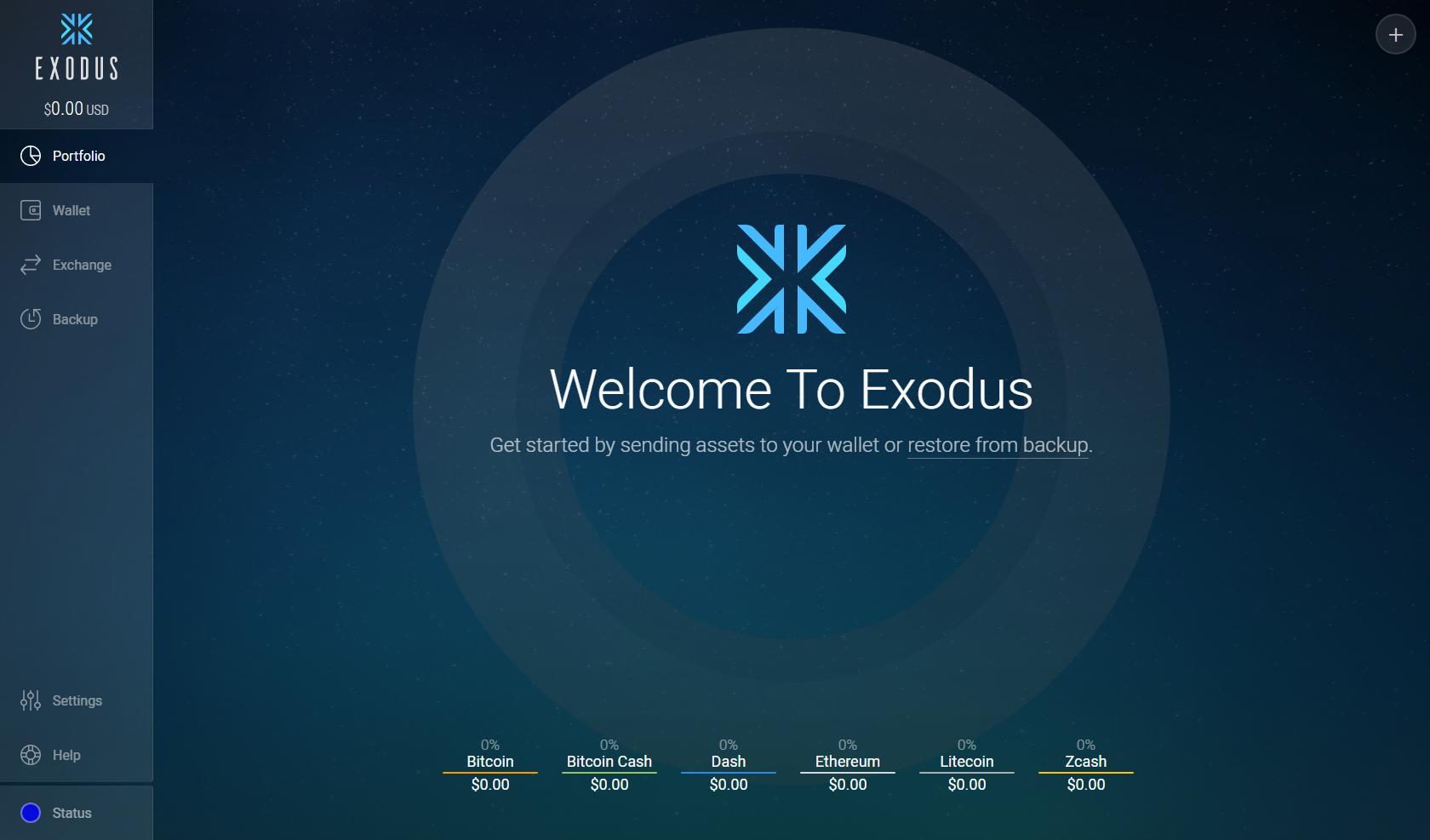 exodus schermata wallet