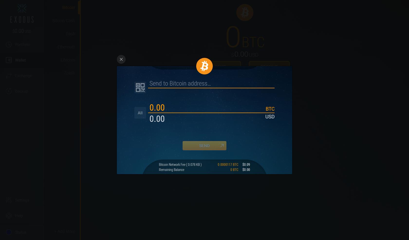 exodus wallet invio criptovaluta