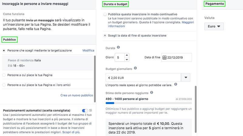 facebook ads creare pulsante invia messaggio