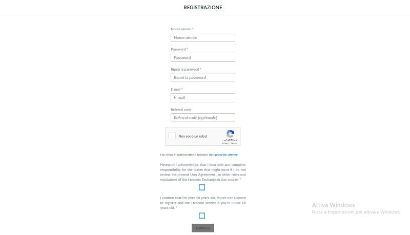 registrazione livecoin