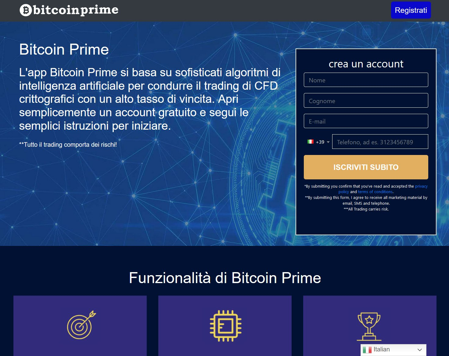 Bitcoin Prime Home page